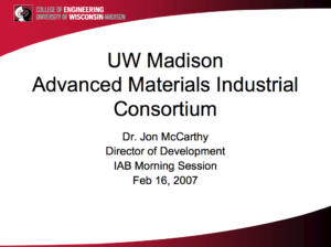 UW Madison Advanced Materials Industrial Consortium